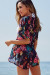 French Connection Navy Blue Floral Chiffon Kimono Cover Up