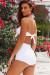 Waikiki White Bandeau Top & Scrunch Bottom Retro Sexy High Waist Bikini