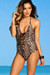 Azalea Leopard Print Plunging Lace Up Halter One Piece Swimsuit