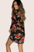 Cherry Bomb Black Floral Print Bell Sleeve Bell Sleeve Kimono Cover Up