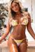 Yellow Cherry Blossom Triangle Top G-String Thong String Bikini