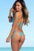 Palm Beach Sexy Solid Aqua Triangle Top Thong String Bikini