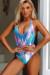 Lolita Blue Pink Shimmer V Neck Halter One Piece Swimsuit