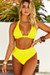 Neon Yellow Adjustable Halter Top & Neon Yellow Full Coverage High Waist Bottom
