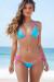 Aqua & Pink Triangle Top & Cheeky Micro Sexy Polka Dot Bikini