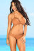 Lotus Sexy Tan Triangle Top & Double Strap Scrunch Bottom Crochet Bikini