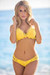 Lotus Sexy Yellow Triangle Top & Double Strap Scrunch Bottom Crochet Bikini