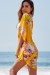 Marsala Yellow Floral Print Chiffon Kimono Beach Cover Up
