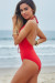 Azalea Red Plunging Lace Up Halter One Piece Swimsuit
