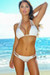 Miami Solid White Sexy Triple Strap Scrunch Bottom Triangle Bikini Swimwear
