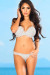 Lotus Sexy White Triangle Top & Double Strap Scrunch Bottom Crochet Bikini