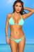Tahiti Reversible Mint & Mint Brushstroke Print Sexy Micro Bikini Swimsuit