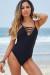 Juniper Black Crisscross V Neck One Piece Swimsuit
