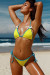 Neon Yellow & Aqua Polka Dot Triangle Top & Neon Yellow & Aqua Polka Dot Classic Bikini Bottom