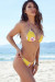 Yellow Cherry Blossom Print Triangle Top & Yellow Cherry Blossom Banded Brazilian Thong Bikini Bottom