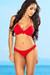 Lotus Sexy Red Triangle Top & Double Strap Scrunch Bottom Crochet Bikini