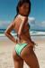 Tokyo Mint Green & Black Triangle Top & Single Rise Sexy Polka Dot Bikini
