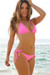 Laguna Solid Neon Pink Triangle Bikini Top & Single Rise Scrunch Bottom Swimsuit
