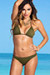 Ibiza Brazilian Cut Solid Olive Triangle Top Sexy Thong Bikini