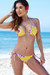 Surfside Sexy Yellow Cherry Blossom Print Triangle Top Single Rise Scrunch Bun® Bikini