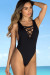 Snapdragon Black Sexy High Cut Deep V Lace Up One Piece Swimsuit
