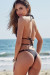 Black Center Loop Wrap Around Bikini Top & Black Double Strap Side Loops Brazilian Thong Bikini Bottom