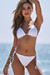 White Triangle Bikini & White Full Coverage Scrunch Bottom