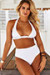 White Adjustable Halter Top & White Full Coverage High Waist Bottom