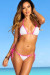 White & Pink Sexy Triangle Top Polka Dot G-String Thong Bikini