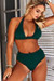 Hunter Green Adjustable Halter Top & Hunter Green Full Coverage High Waist Bottom
