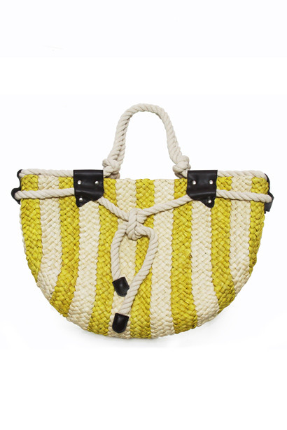 The Beachy DOLL Natural Yellow Stripe Cute Vintage Classic Beach Bag